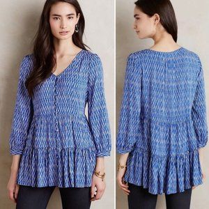ANTHROPOLOGIE Lila Tiered Tunic Top Ikat {DD18}